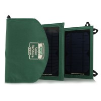 Expanding Solar Charger with Dual USB Ports , Storage Pocket & Carrying Strap-Green