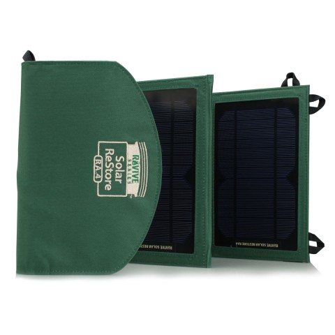 Expanding Solar Charger with Dual USB Ports , Storage Pocket & Carrying Strap - Green