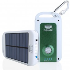 Solar Charger & 4000mAh Power Bank with USB Cable , Carabiner & Suction Mounts - White