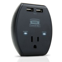 3-Port AC Outlet Adapter with 5V USB Output , Surge Protection & Compact Design-Black