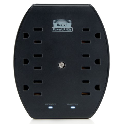 Rapid 6-Port AC Outlet Adapter with 2.1A Dual USB Ports and Overload Protection - Black